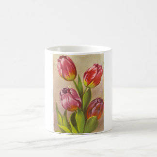Tulipanes rosados del vintage taza clásica