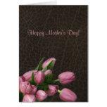 Tulipanes rosados - el día de madre feliz tarjetón