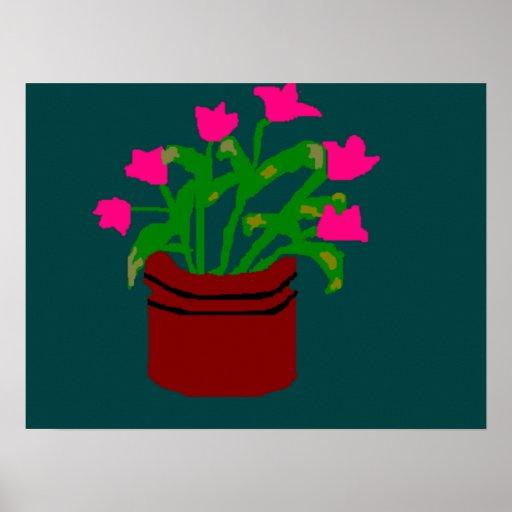 Tulipanes rosados en un poster del florero
