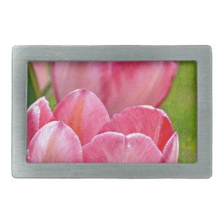 Tulipanes rosados hebillas cinturón rectangulares