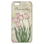 Tulipanes rosados lindos en fondo del vintage
