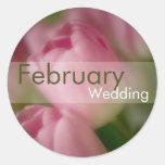 Tulipanes rosados • Pegatina del boda de febrero