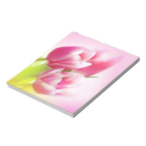 Tulipanes rosados preciosos blocs de notas