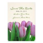 Tulipanes rosados que casan reserva la fecha comunicado personalizado