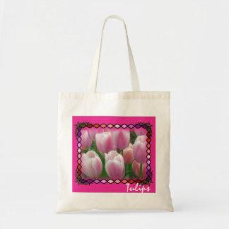 Tulipanes rosados Totebag Bolsa Tela Barata