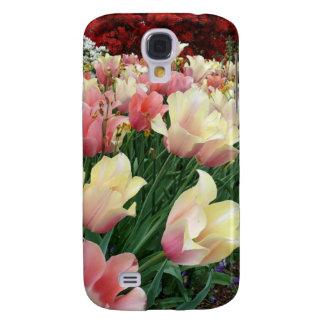 Tulipanes rosados y amarillos funda para galaxy s4