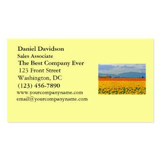 Tulipanes y autobús escolar amarillos tarjetas de visita