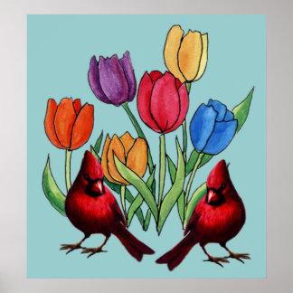 Tulipanes y cardenales impresiones