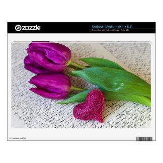 Tulipanes y corazón calcomanías para netbooks