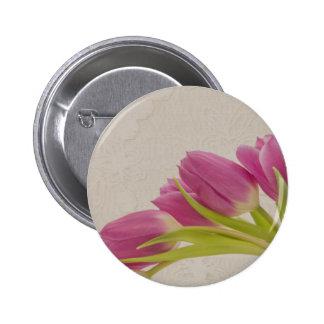 Tulipanes y cordón rosados chapa redonda 5 cm