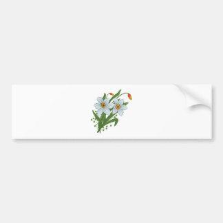 Tulipanes y flores de los narcisos etiqueta de parachoque