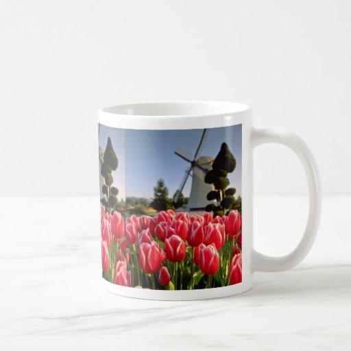 Tulipanes y flores rojos rojos del molino de taza clásica