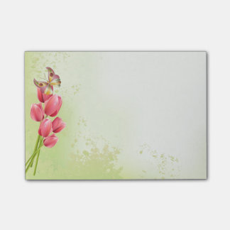 Tulipanes y mariposa rosados - cojín pegajoso nota post-it