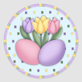 Tulipanes y pegatinas de los huevos pegatinas redondas
