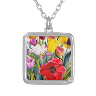 Tulips 2007 silver plated necklace