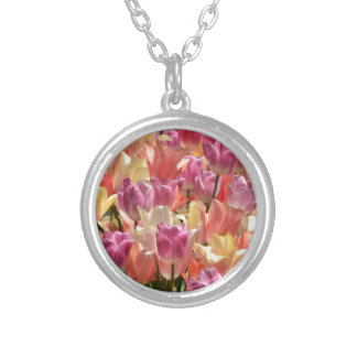 Tulips #2 silver plated necklace