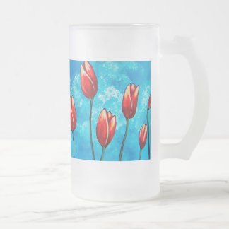 Tulips Against the Sky Floral Art Frosted Mug