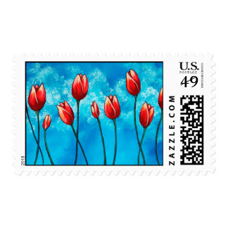 Tulips Against the Sky Floral Art Postage
