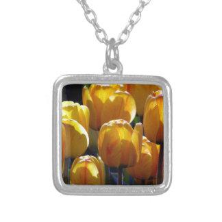 Tulips aglow square pendant necklace
