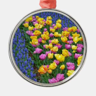 Tulips and bluebells flower garden metal ornament