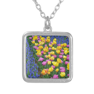 Tulips and bluebells flower garden personalized necklace