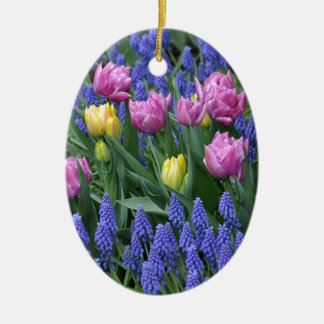 Tulips and bluebells garden ceramic ornament