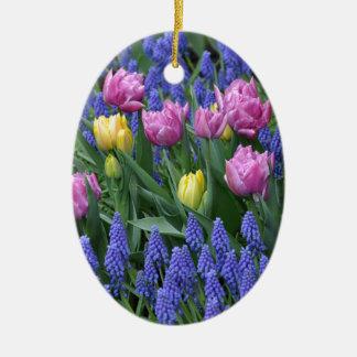 Tulips and bluebells garden ceramic ornament