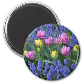Tulips and bluebells garden magnet