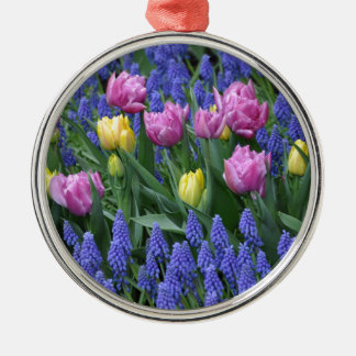Tulips and bluebells garden metal ornament