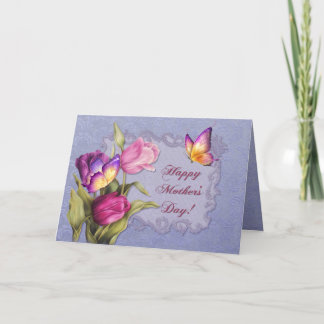 Tulips and Butterflies Mothers Day Card