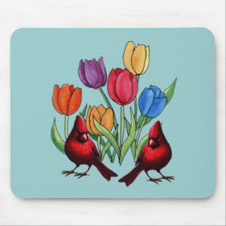 Tulips and Cardinals Mouse Pad