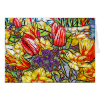 Tulips and Daffodil Colorful Art Card