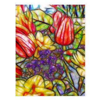 Tulips and Daffodil Colorful Art Postcard