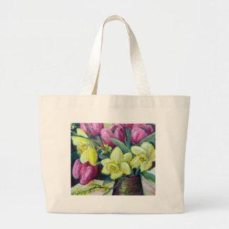 Tulips and daffodils canvas bag