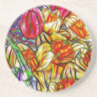 Tulips and Daffodils Colorful Artwork from Photos Drink Coaster