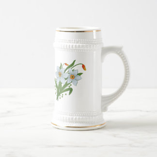 Tulips and Daffodils Flowers Beer Stein