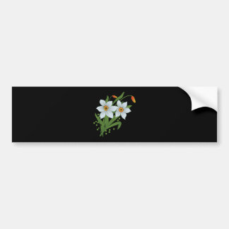 Tulips and Daffodils Flowers Black Background Bumper Sticker