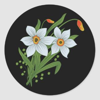 Tulips and Daffodils Flowers Black Background Classic Round Sticker