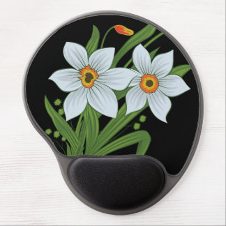 Tulips and Daffodils Flowers Black Background Gel Mouse Pad