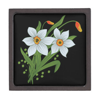 Tulips and Daffodils Flowers Black Background Jewelry Box