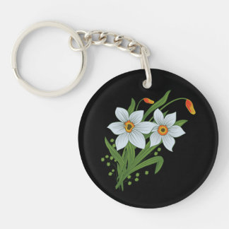 Tulips and Daffodils Flowers Black Background Keychain