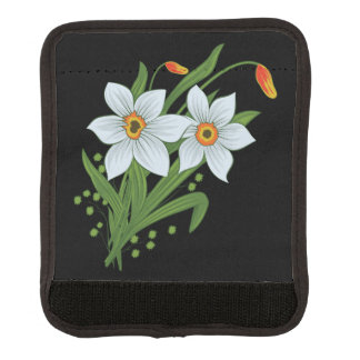 Tulips and Daffodils Flowers Black Background Luggage Handle Wrap