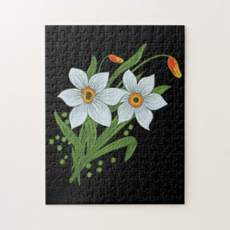 Tulips and Daffodils Flowers Black Background Puzzle