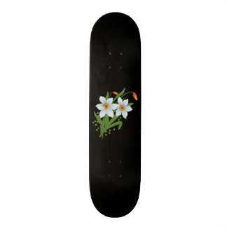 Tulips and Daffodils Flowers Black Background Skateboard Deck