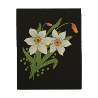 Tulips and Daffodils Flowers Black Background Wood Wall Art