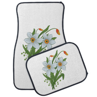 Tulips and Daffodils Flowers Car Floor Mat