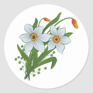 Tulips and Daffodils Flowers Classic Round Sticker