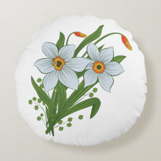 Tulips and Daffodils Flowers Round Pillow