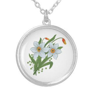 Tulips and Daffodils Flowers Silver Plated Necklace