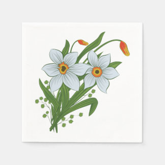 Tulips and Daffodils Flowers Paper Napkin